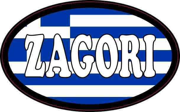 Oval Greek Flag Zagori Sticker