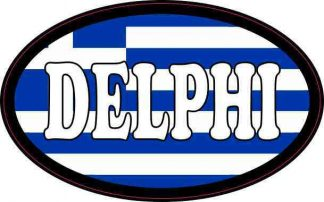 Oval Greek Flag Delphi Sticker