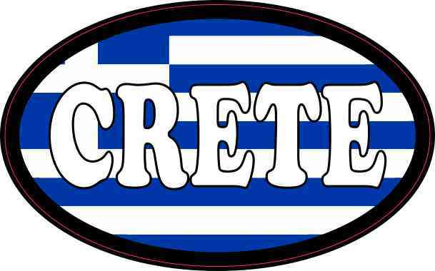 Oval Greek Flag Crete Sticker