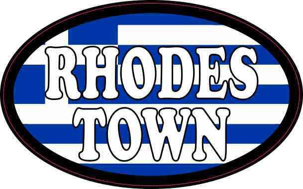 Oval Greek Flag Rhodes Town Sticker