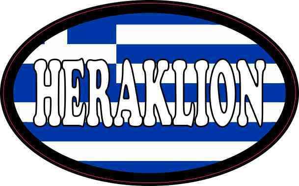 Oval Greek Flag Heraklion Sticker