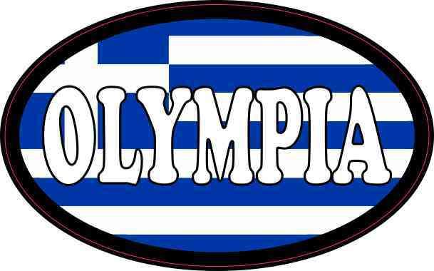 Oval Greek Flag Olympia Sticker