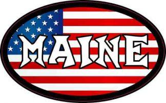 Oval American Flag Maine Sticker