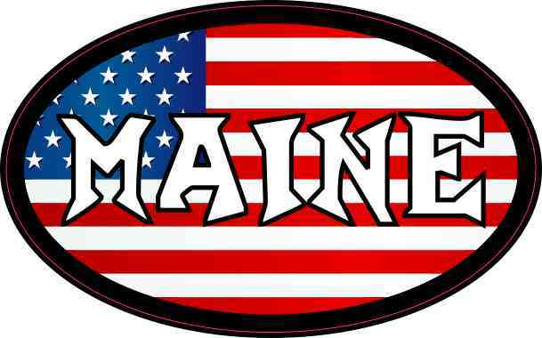 Oval American Flag Maine Sticker