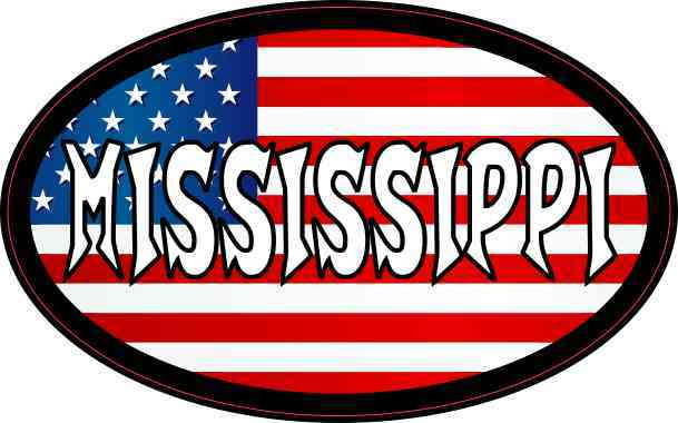 Oval American Flag Mississippi Sticker