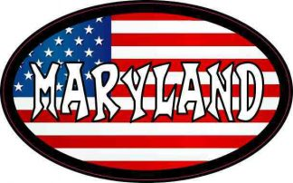Oval American Flag Maryland Sticker