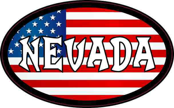 Oval American Flag Nevada Sticker
