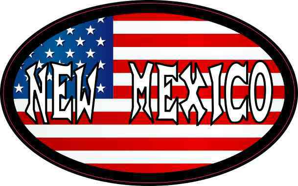 Oval American Flag New Mexico Sticker