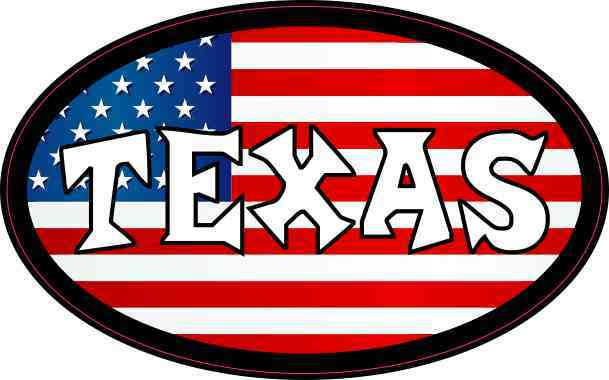 Oval American Flag Texas Sticker