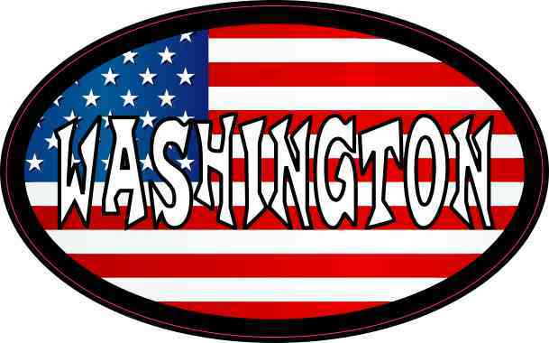 Oval American Flag Washington Sticker