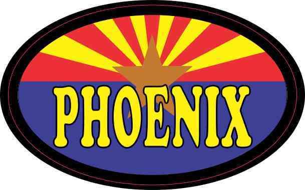 Oval Arizonan Flag Phoenix Sticker