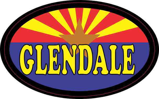 Oval Arizonan Flag Glendale Sticker