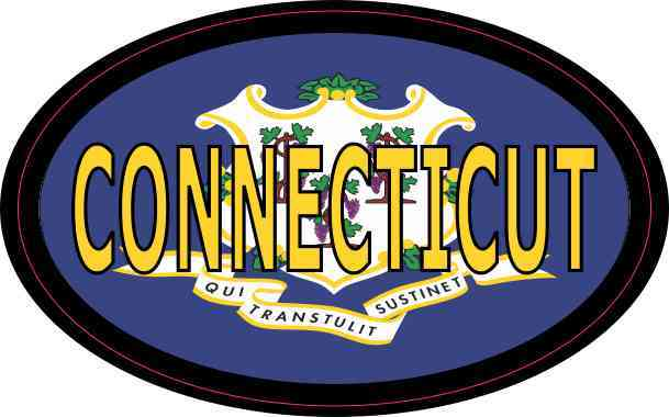 Flag Oval Connecticut Sticker