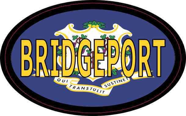 Oval Connecticut Flag Bridgeport Sticker