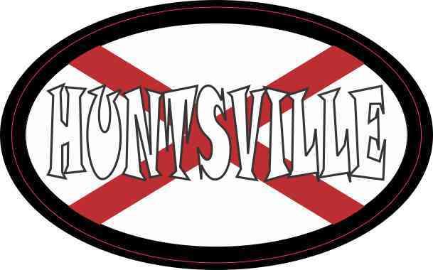 Oval Alabaman Flag Huntsville Sticker