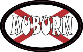 Oval Alabaman Flag Auburn Sticker