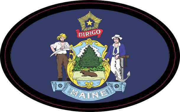 Flag Oval Maine Sticker