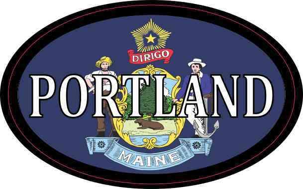Oval Maine Flag Portland Sticker