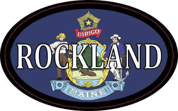 Oval Maine Flag Rockland Sticker