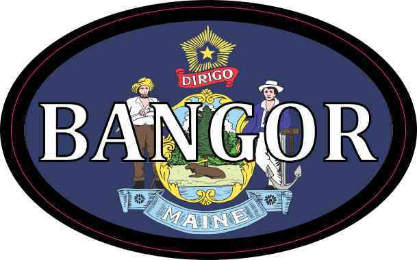 Oval Maine Flag Bangor Sticker