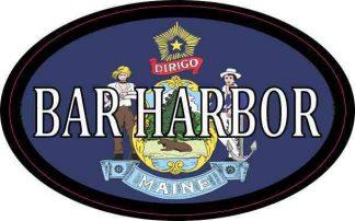 Oval Maine Flag Bar Harbor Sticker