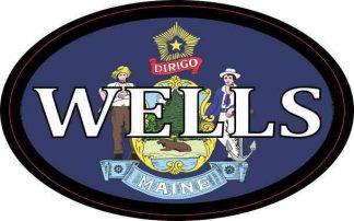 Oval Maine Flag Wells Sticker