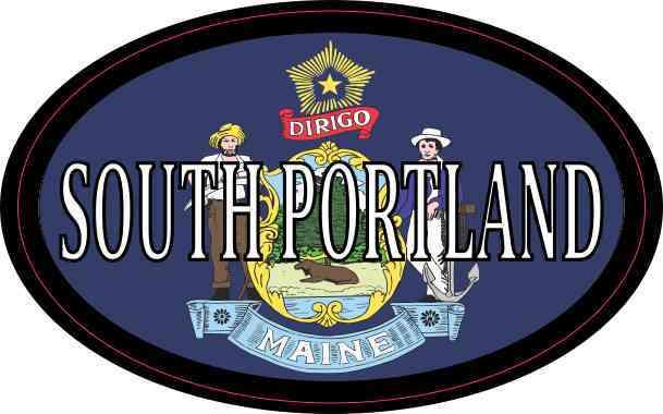 Oval Maine Flag South Portland Sticker