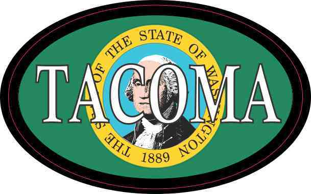 Oval Washington Flag Tacoma Sticker