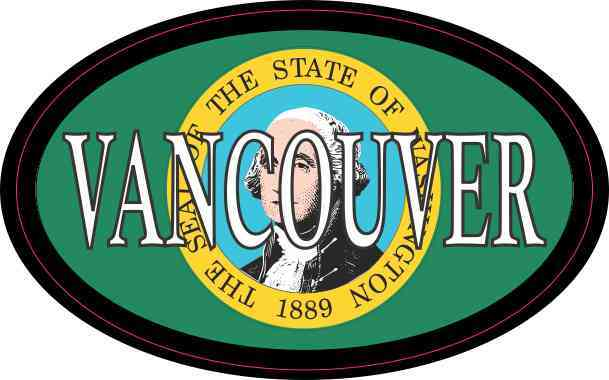 Oval Washington Flag Vancouver Sticker