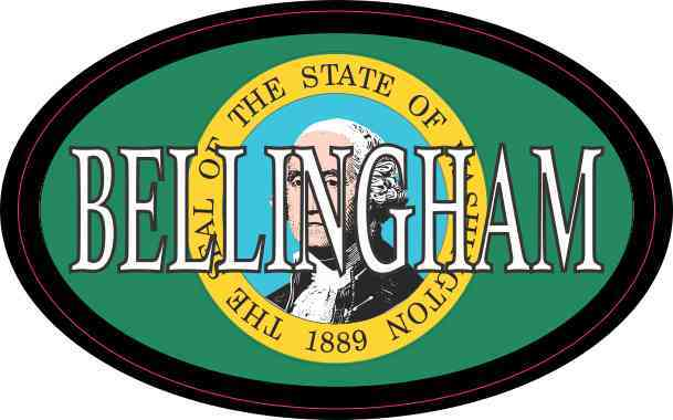 Oval Washington Flag Bellingham Sticker