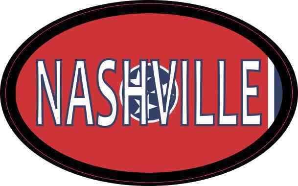 Oval Tennessee Flag Nashville Sticker