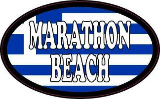 Oval Greek Flag Marathon Beach Sticker