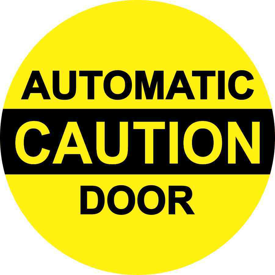 Caution Automatic Door Sticker