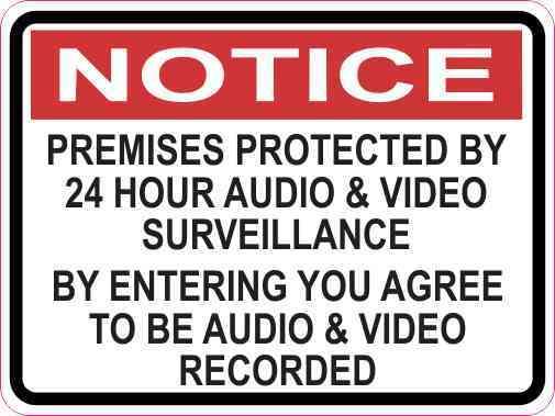Notice Premises Protected by 24 Hour Surveillance Magnet