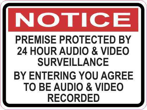 Notice Premise Protected by 24 Hour Surveillance Magnet