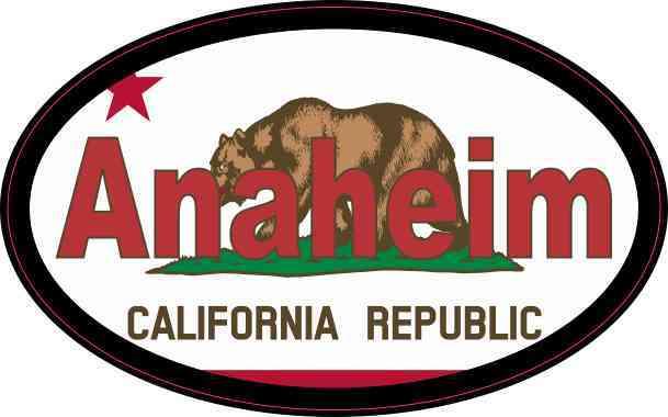 Oval Californian Flag Anaheim Sticker