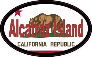 Flag Oval Alcatraz Island Sticker