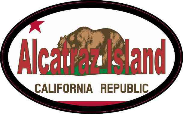 Flag Oval Alcatraz Island Sticker