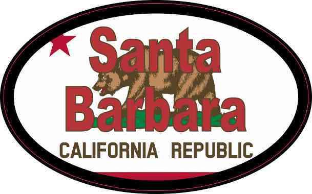 Oval Californian Flag Santa Barbara Sticker