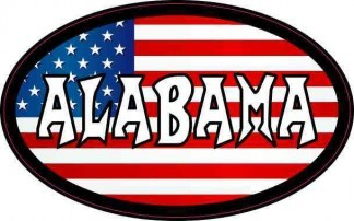Oval American Flag Alabama Sticker