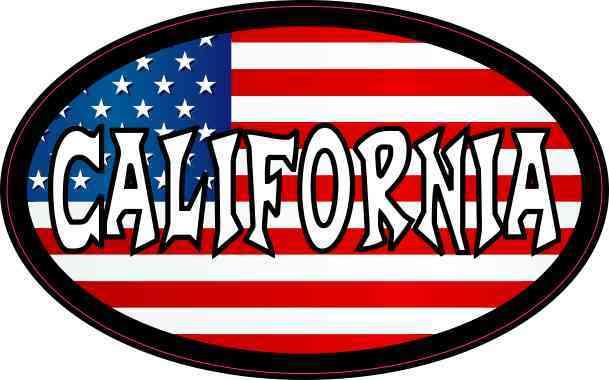 Oval American Flag California Sticker