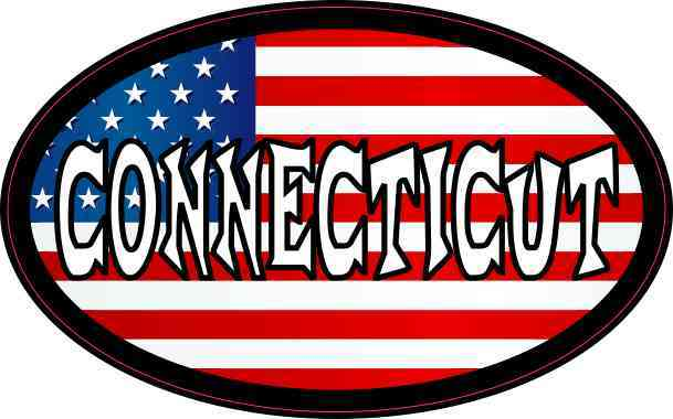 Oval American Flag Connecticut Sticker