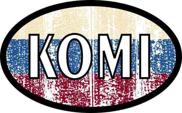 Oval Russian Flag Komi Sticker