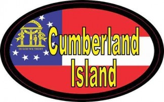Oval Georgia Flag Cumberland Island Sticker