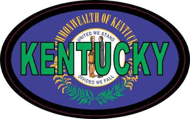 Flag Oval Kentucky Sticker