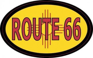 Oval New Mexico Flag Route 66 Sticker