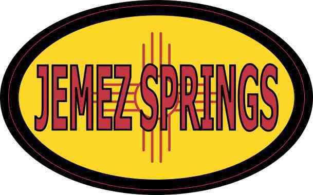 Oval New Mexico Flag Jemez Springs Sticker