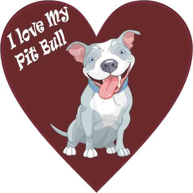I Love My Pit Bull Heart Sticker