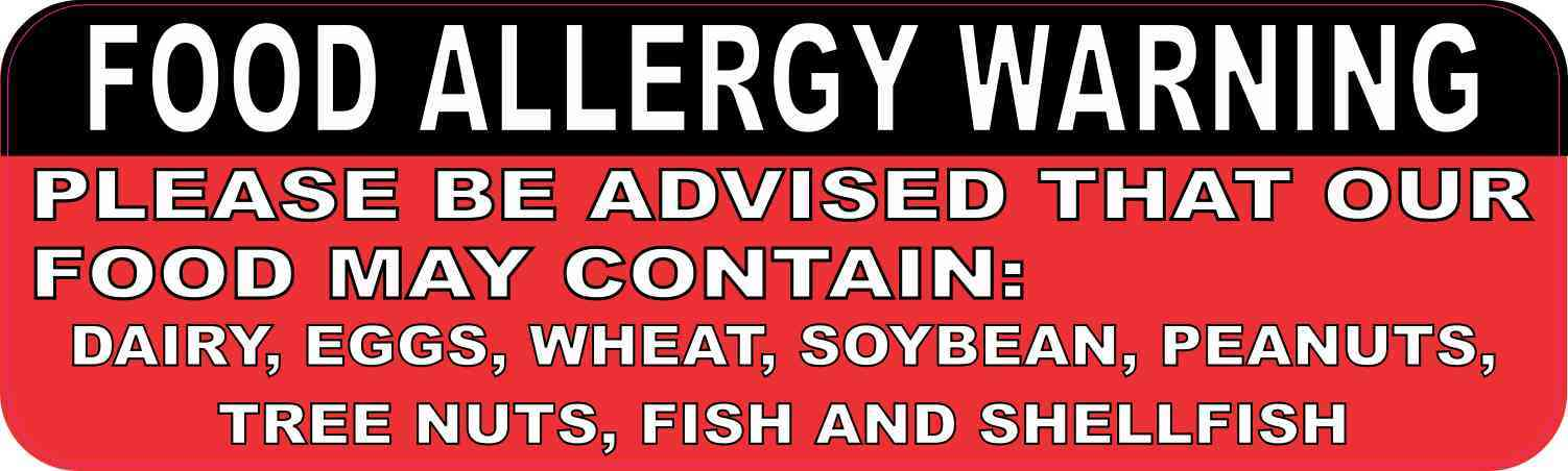 Food Allergy Warning Magnet