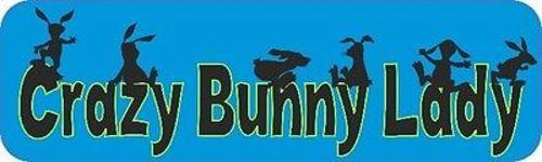 Blue Crazy Bunny Lady Bumper Sticker